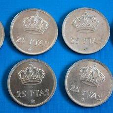 Monedas Juan Carlos I: LOTE 6 MONEDAS DE 25 PTAS, DE 1975 80*, JUAN CARLOS, EN PERFECTO ESTADO. Lote 292347263