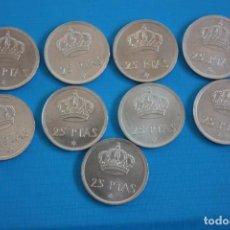 Monedas Juan Carlos I: LOTE 9 MONEDAS 25 PTAS 1975 78*, JUAN CARLOS, EN PERFECTO ESTADO. Lote 292350588