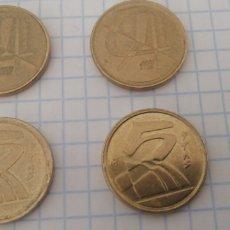Monedas Juan Carlos I: MONEDA 5 PESETAS 1992. LOTE DE 4 MONEDAS Y PIEZA COLECCIONISTA. Lote 295552733