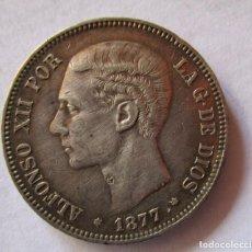 Monedas Juan Carlos I: ALFONSO XII . 5 PESETAS DE PLATA DEL AÑO 1877 . PIEZA DE CALIDAD. MUY ATRACTIVA PATINA. Lote 295774258