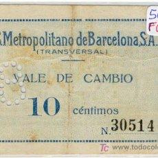 Monedas locales: (FC-671)VALE 10 CTS.F.C.METROPOLITANO DE BARCELONA S.A.(TRANSVERSAL). Lote 3505928