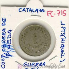 Monedas locales: (FC-715)FICHA 1 PTS.COOPERATIVA OBRERA DE PINEDA - GUERRA CIVIL. Lote 3790359