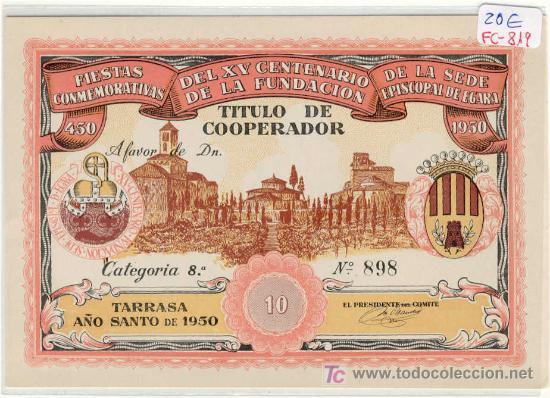 (FC-819)VALE 10 TITULO COOPERADOR TARRASA AÑO 1950 (Numismática - España Modernas y Contemporáneas - Locales y Fichas Dinerarias y Comerciales)