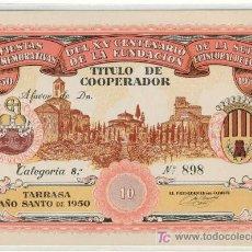 Monedas locales: (FC-819)VALE 10 TITULO COOPERADOR TARRASA AÑO 1950. Lote 4630473