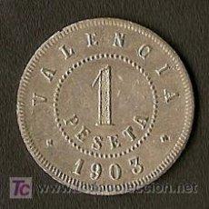 Monedas locales: ESCASA FICHA DE 1 PESETA - VALENCIA 1903 - SUPERCOMPLETA. Lote 27378065