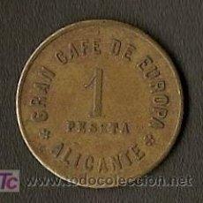Monedas locales: FICHA DE 1 PESETA - GRAN CAFE DE EUROPA - ALICANTE. Lote 25736248