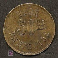 Monedas locales: FICHA DE INGENIO AZUCARERO DE 50 CTVOS- CENTRAL SAN CLAUDIO - CUBA. Lote 26330144