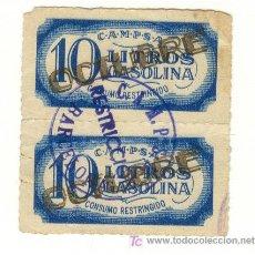 Monedas locales: GUERRA CIVIL RAROS DOS SELLOS RACIONAMIENTO 10 LITROS GASOLINA CADA UNO. CONSUMO RESTRINGIDO.. Lote 22175925