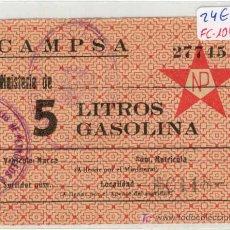 Monedas locales: (FC-1042BIS)VALE 5 LITROS GASOLINA CAMPSA (GUERRA CIVIL). Lote 5323850
