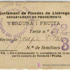 Monedas locales: (FC-1085)VALE VERDURA I FRUTAAJUNTAMENT DE PINEDES DE LLOBREGAT-GUERRA CIVIL. Lote 5875845