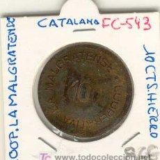Monedas locales: (FC-543)FICHA 10 CTS.COOP.LA MALGRATENSE INEDITA. Lote 5925717