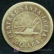 Monedas locales: FICHA VALEDERA POR UN JORNAL - CENTRAL SANTA LUCIA 1884 - GIBARA- HOLGUIN - CUBA EPOCA ESPAÑOLA. Lote 23198684