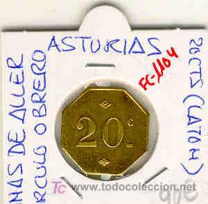 (FC-1104)FICHA 20 CTS.MINAS DE ALLER-CIRCULO OBRERO(ASTURIAS). (Numismática - España Modernas y Contemporáneas - Locales y Fichas Dinerarias y Comerciales)