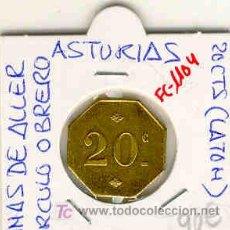Monedas locales: (FC-1104)FICHA 20 CTS.MINAS DE ALLER-CIRCULO OBRERO(ASTURIAS).. Lote 6211012