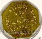 Monedas locales: (FC-1104)FICHA 20 CTS.MINAS DE ALLER-CIRCULO OBRERO(ASTURIAS). - Foto 2 - 6211012