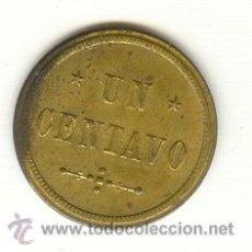 Monedas locales: VALOR UN CENTAVO 1897 FICHA COCINAS ECONOMICAS SANTº DE CUBA CUBA EPOCA COLONIAL ESPAÑOLA - INAG. Lote 25465954
