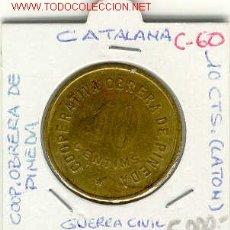 Monedas locales: FICHA COOP.OBRERA DE PINEDA 10.CTS(GUERRA CIVIL). Lote 1768587