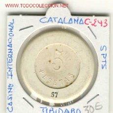 Monedas locales: FICHA CASINO INTERNACIONAL TIBIDABO 5PTS. Lote 109055918