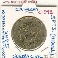 Monedas locales: FICHA COOP. LA NUEVA OBRERA,SANTS,GUERRA CIVIL,5PTS. Lote 1075644