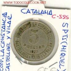 Monedas locales: FICHA COOP. LA CONSTANCIA CASTELLBELL Y VILAR 5PTS. Lote 1099620