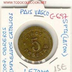 Monedas locales: FICHA COOP. OBREROS EMPLEADOS CATOLICOS, PAIS VASCO.5PTS. Lote 1239238