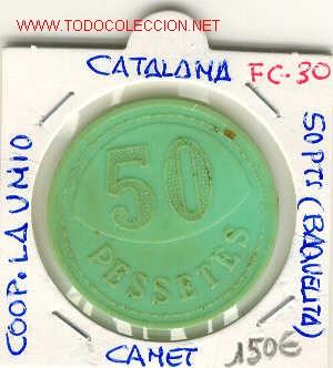 FICHA (FC-30) 50 PTS.COOP.LA UNIO DE CANET DE MAR (Numismática - España Modernas y Contemporáneas - Locales y Fichas Dinerarias y Comerciales)