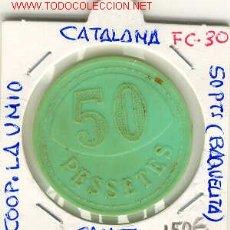 Monedas locales: FICHA (FC-30) 50 PTS.COOP.LA UNIO DE CANET DE MAR. Lote 1840049