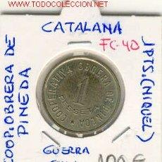 Monedas locales: FICHA (FC-40) 1 PTS.COOP.OBRERA DE PINEDA GUERRA CIVIL. Lote 5529228