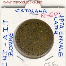 Monedas locales: FICHA (FC-60) 1 PTS.C.N.T.-A.I.T SINDICATO UNICO DEL RAMOS DEL TRANSPORTE SECCION BORNE-GUERRA CIVIL. Lote 1843519