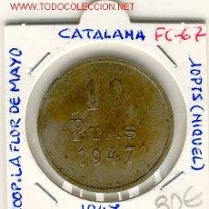Monedas locales: FICHA (FC-67) 10 PTAS.COOPERATIVA LA FLOR DE MAYO DE POBLE NOU-BARCELONA. Lote 1843586