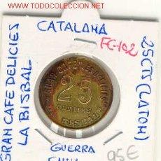 Monedas locales: FICHA (102) 25 CTS.GRAN CAFE DELICIAS DE LA BISBAL-GIRONA GUERRA CIVIL. Lote 1852078
