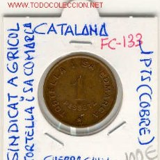 Monedas locales: FICHA (FC-133) 1 PTS.SINDICAT AGRICOL TORTELLA I SA COMARCA- GIRONA GUERRA CIVIL. Lote 1852137