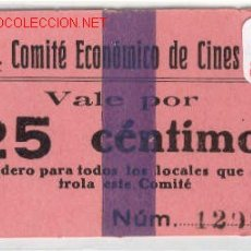 Monedas locales: (FC-196) 25 CTS.C.N.T. COMITE ECONOMICOS DE CINES A.I.T.-GUERRA CIVIL. Lote 1968521