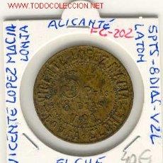 Monedas locales: (FC-202) FICHA 5 PTS-8 DIAS-V2L VICENTE LOPEZ MACIA-LONJA DE ELCHE(ALICANTE). Lote 2020485