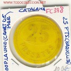 Monedas locales: (FC-398) FICHA 25 PTS.COOPERATIVA LA UNIO - CANET DE MAR. Lote 2657096