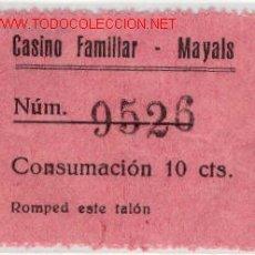 Monedas locales: (FC-490) VALE 10 CTS.CONSUMACION CASINO DE MAYALS (LLEIDA). Lote 2711068