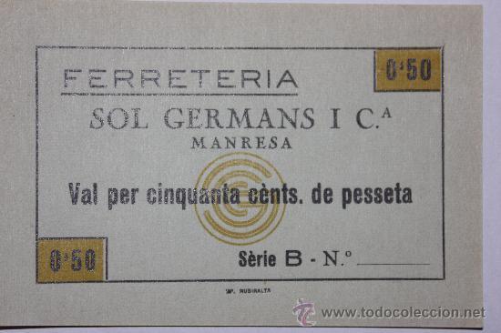 FERRETERIA SOL GERMANS MANRESA 0,50 CTS SIN NUMERO DE SERIE (Numismática - España Modernas y Contemporáneas - Locales y Fichas Dinerarias y Comerciales)
