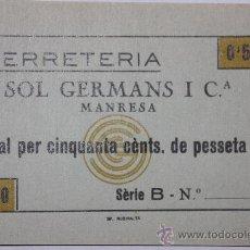 Monedas locales: FERRETERIA SOL GERMANS MANRESA 0,50 CTS SIN NUMERO DE SERIE . Lote 11292817