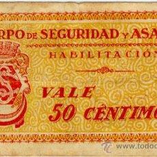 Monedas locales: (FC-1268)VALE 50 CTS.CUERPO DE SEGURIDAD Y ASALTO HABILITACION-GUERRA CIVIL. Lote 11330539