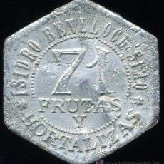 Monedas locales: ESCASA FICHA DE 5 PESETAS - MERCADO DE ABASTOS Nº 71 (VALENCIA) - AÑOS 30. Lote 23899150