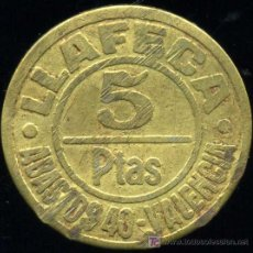 Monedas locales: ESCASA FICHA DE 5 PESETAS - MERCADO DE ABASTOS Nº 40 (VALENCIA) - AÑOS 30. Lote 23966470