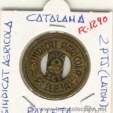 Monedas locales: (FC-1290)FICHA 2 PTS.SINDICAT AGRICOLA DE PALLEJA-GUERRA CIVIL. Lote 11653800