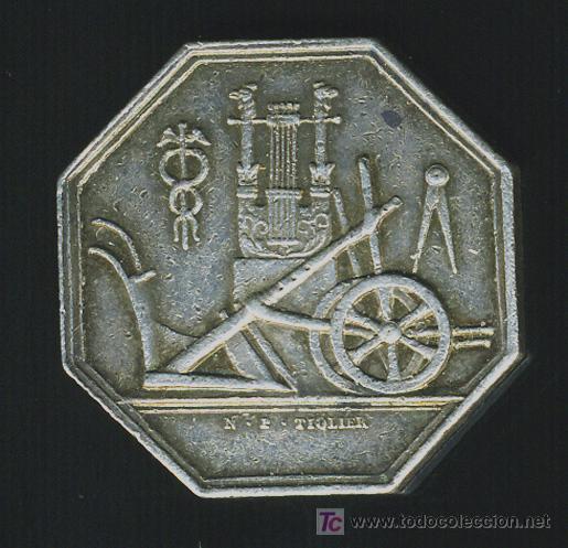 Monedas locales: FICHA SOCIEDAD DE AGRICULTURA CIENCIAS Y ARTES DE MEAUX , FRANCIA, ORIGINAL, ANTIGUA, F527 - Foto 2 - 27451385