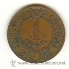 Monedas locales: 1-FICHA COOPERATIVA OBRERA MANRESA MANRESANA UNA PESETA. Lote 26577849