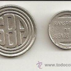 Monedas locales: DOS FICHAS DE TRANSPORTES DE BUENOS AIRES (UN VIAJE EN SUBTE)GRAN CURIOSIDAD Y EXELENTE CONSERVACIÓN. Lote 27609159