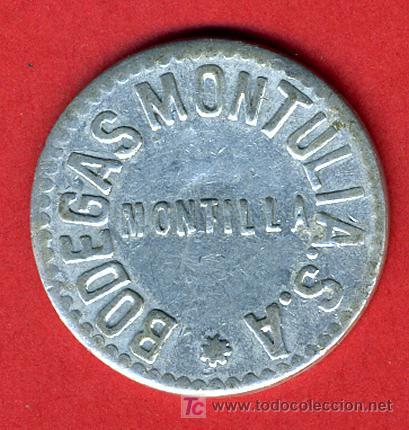 FICHA PUBLICIDAD BODEGAS MONTULIA , MONTILLA CORDOBA , 25 CENTIMOS ,F574 (Numismática - España Modernas y Contemporáneas - Locales y Fichas Dinerarias y Comerciales)