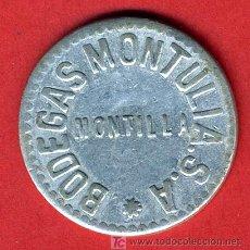 Monedas locales: FICHA PUBLICIDAD BODEGAS MONTULIA , MONTILLA CORDOBA , 25 CENTIMOS ,F574. Lote 26128151