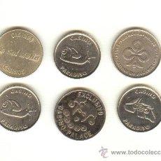 Monedas locales: BARATO LOTE DE SEIS FICHAS DE CASINO MUY BONITAS A CLASIFICAR. Lote 24244671