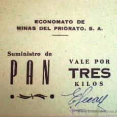 Monedas locales: ECONOMATO DE MINAS DEL PRIORATO SUMINISTRO DE PAN VALE POR TRES KILOS CARTON. Lote 19784690