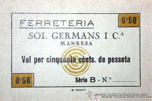 Monedas locales: Ferreteria Sol Germans Manresa 0,50 cts sin numero de serie - Foto 2 - 11292817
